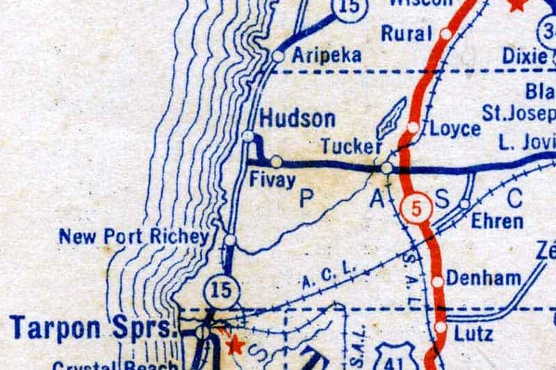 1927 Standard Oil Co. map - Courtesy West Pasco Historical Society